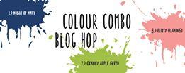 Colour Combo card using Night of Navy, Flirty Flamingo and Granny Apple Green