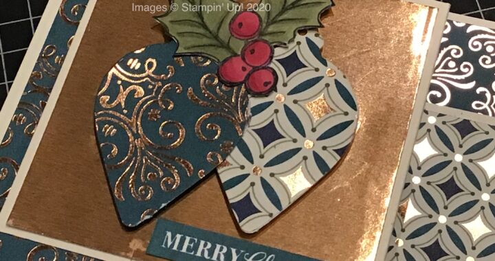 Double Z-Fold Christmas card using Christmas Gleaming stamp set and Gleaming Christmas Designer Series Paper