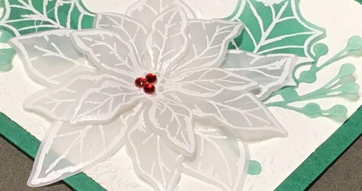 Poinsettia Petals Christmas card Heat Embossed on Vellum