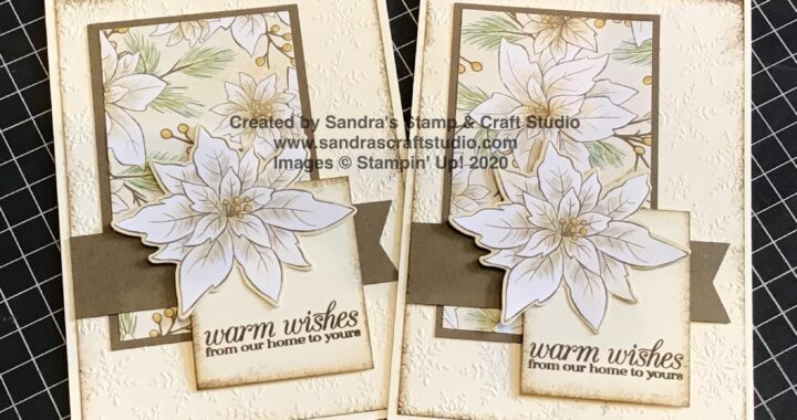 Handmade card created using Poinsettia Place Designer Series Paper from Stampin' Up!