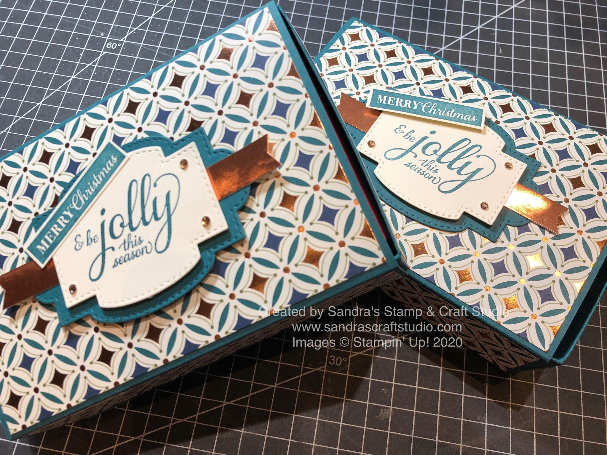 Handmade Gift Boxes using Gleaming Christmas Specialty Designer Series Papers by Stampin' Up!