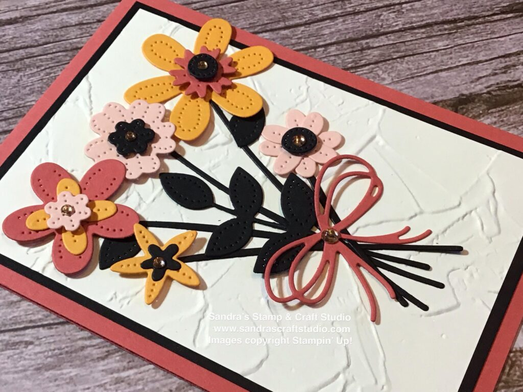Handmade card using Pierced Blooms Dies from Stampin' Up!, showing bow detail
