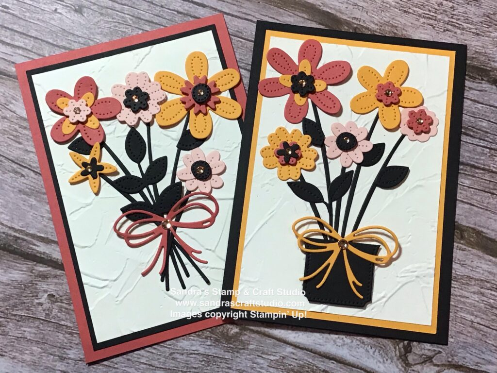 Pair of Handmade cards using Pierced Blooms Dies from Stampin' Up!