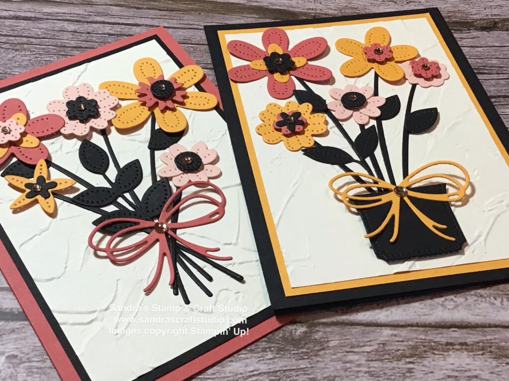 Pair of Handmade cards using Pierced Blooms Dies from Stampin' Up! showing double bow detail