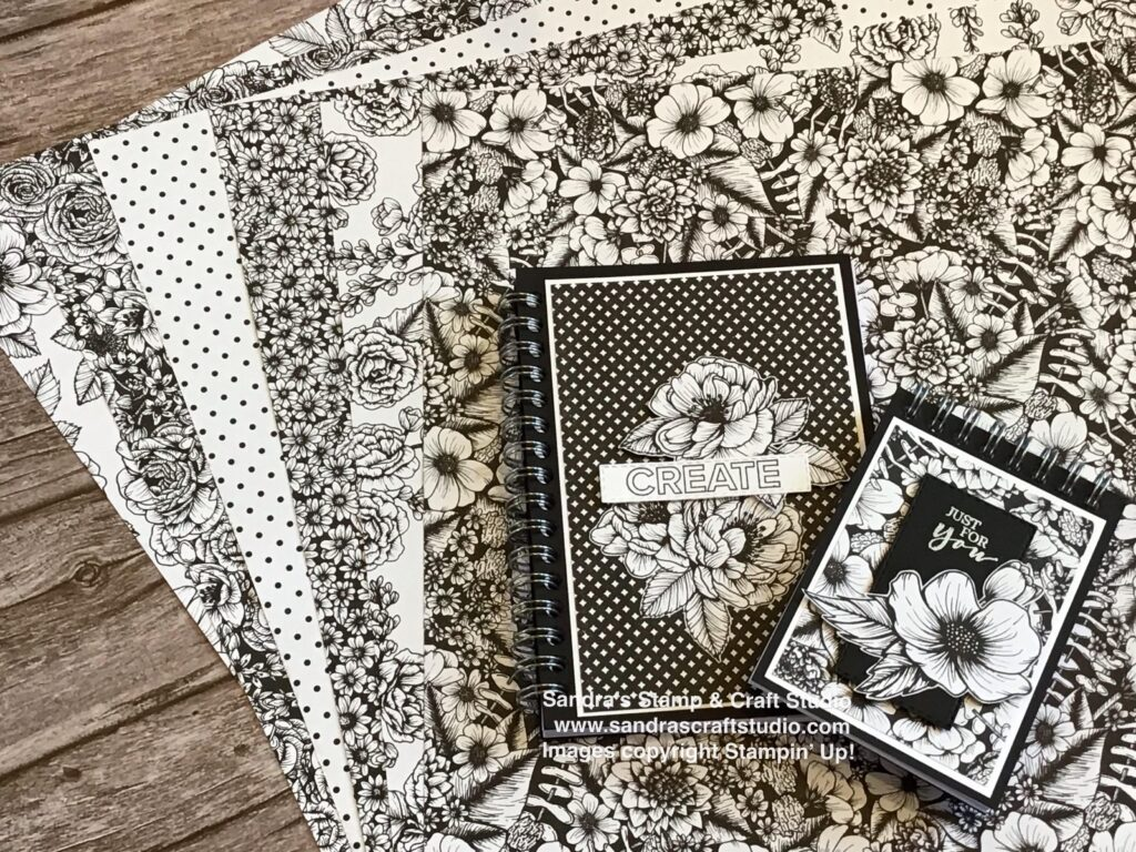 Monochrome True Love Designer Series Papers from Stampin' Up! to cover some small Notebooks