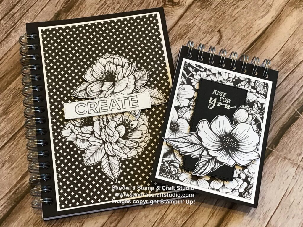 Monochrome A7 & A6 size Covered Notebooks using True Love Designer Series Papers from Stampin' Up!