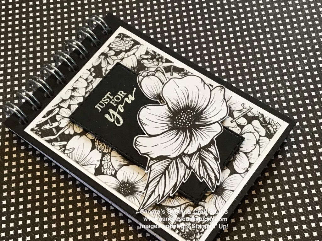 Monochrome A7 small covered Notebook using True Love Designer Series Paper from Stampin' Up!