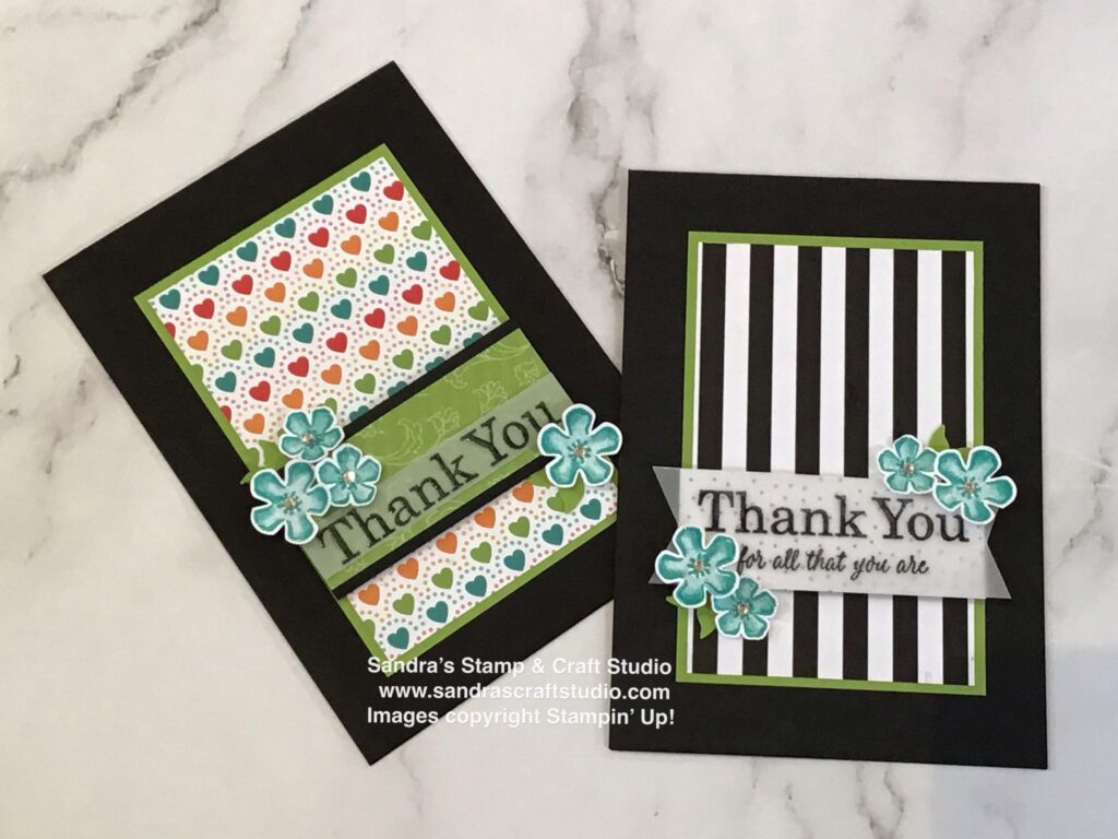 """Pair of Handmade cards created using Pattern Party Designer Series Papers. Ask me how bumper 48-sheet 12"""" pack could be yours FREE"""