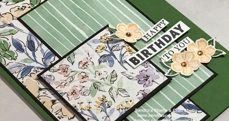 Floral Birthday card using Hand-Penned Designer Series Paper from Stampin' Up!