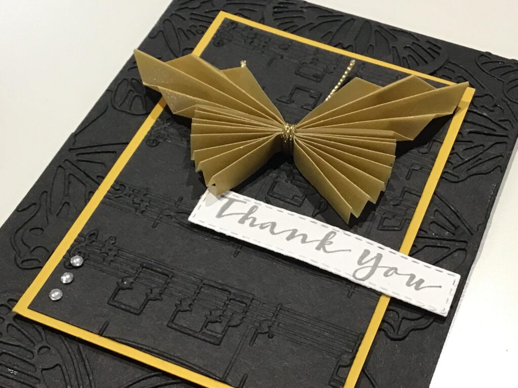 Handmade Music themed Butterfly card
